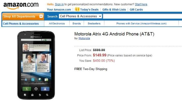 Motorola atrix 4g amazon
