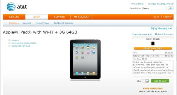 att ipad 1 wifi+3g 64 GB price drop