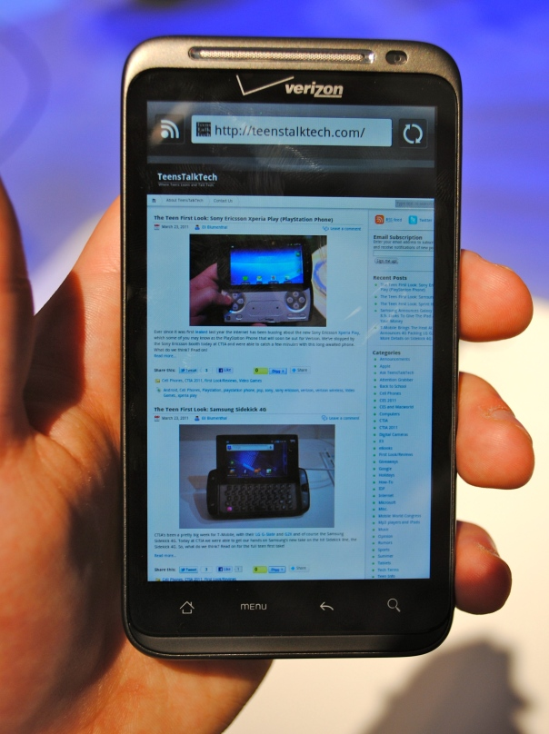 htc thunderbolt first look browser