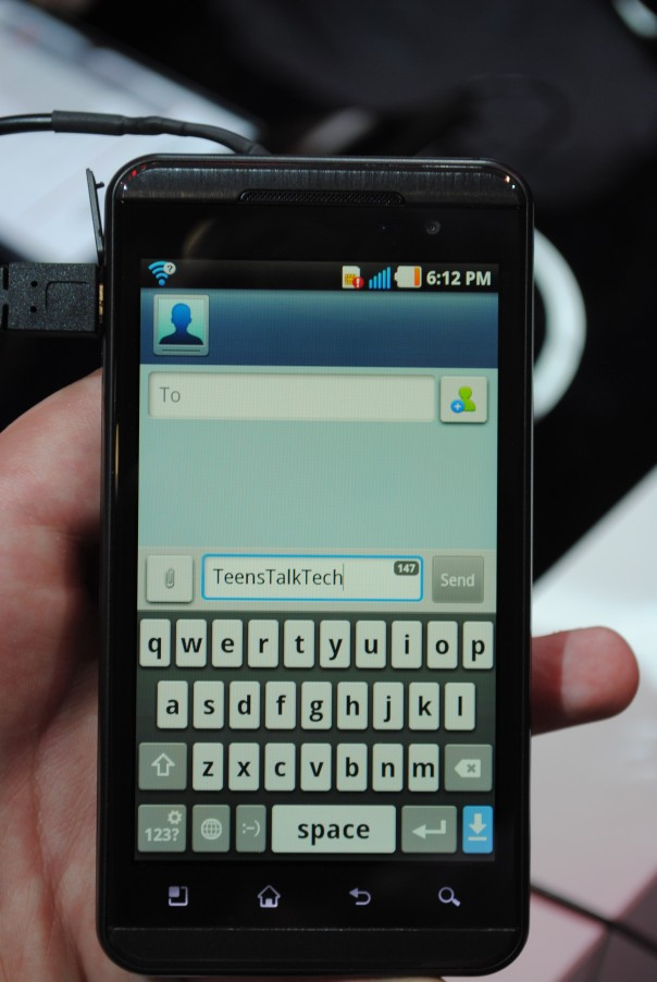 lg optimus 3d texting