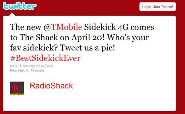 radioshack twitter sidekick 4g