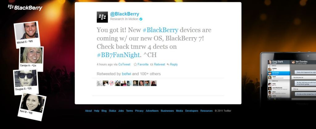 blackberry os 7 twitter post