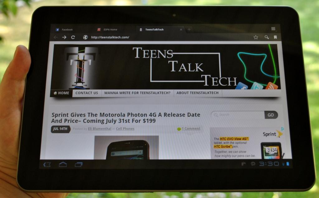 Galaxy Tab browser