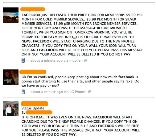 facebook status scam