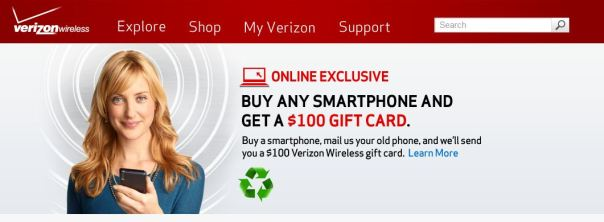 verizon $100 gift card deal