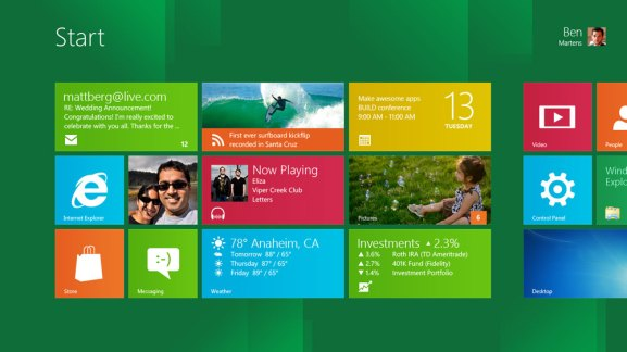 windows 8 build start screen