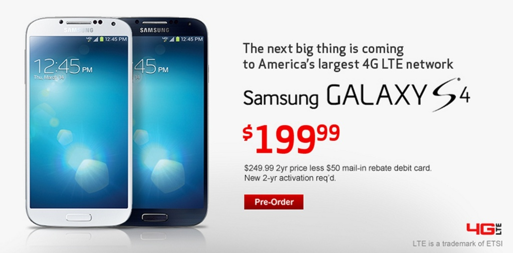 verizon galaxy s4 preorder
