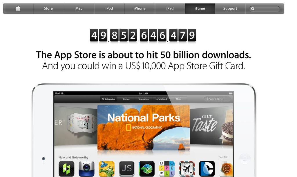 Apple 50 billion apps giveaway