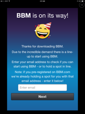 bbm app wait list screen