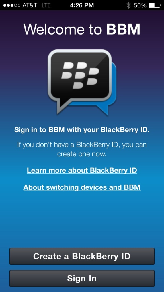 bbm for iphone welcome screen